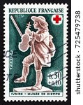 france   circa 1967  a stamp... | Shutterstock . vector #725479738