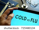 man reading about cold vs flu. | Shutterstock . vector #725480134