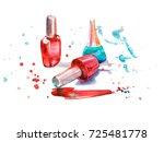 nail polish. watercolor... | Shutterstock . vector #725481778