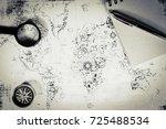 an ancient map  a compass and a ... | Shutterstock . vector #725488534