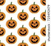 jack o lantern pumpkin pattern...   Shutterstock .eps vector #725492479