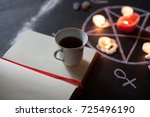 tea and witchcraft  table set... | Shutterstock . vector #725496190