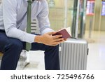 business man waiting at the... | Shutterstock . vector #725496766