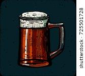 retro style beer mug engraving. ... | Shutterstock .eps vector #725501728