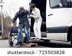 nurse helping senior man exit a ... | Shutterstock . vector #725503828