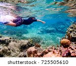 underwater image of 7 year old... | Shutterstock . vector #725505610