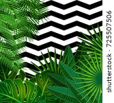 tropical leaves background with ... | Shutterstock . vector #725507506