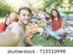 group of friends taking a... | Shutterstock . vector #725510998