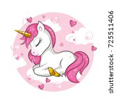cute magical unicorn. vector... | Shutterstock .eps vector #725511406