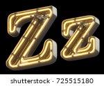 yellow neon sign chrome font.... | Shutterstock . vector #725515180