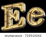 yellow neon sign chrome font.... | Shutterstock . vector #725515243
