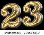 yellow neon sign chrome font.... | Shutterstock . vector #725515810