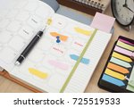 schedule diary notebook with... | Shutterstock . vector #725519533