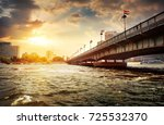 bridge on the nile dividing... | Shutterstock . vector #725532370