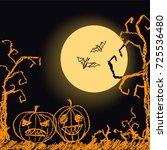 halloween black dark background ... | Shutterstock .eps vector #725536480