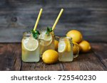 homemade lemonade with mint and ... | Shutterstock . vector #725540230