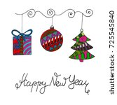 color christmas decorations ... | Shutterstock .eps vector #725545840