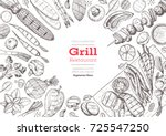 grill menu design template.... | Shutterstock .eps vector #725547250