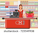groceries cashier at work.... | Shutterstock .eps vector #725549938