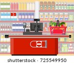 supermarket store interior with ... | Shutterstock .eps vector #725549950