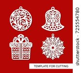 set of christmas decoration ... | Shutterstock .eps vector #725554780