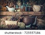 tincture bottles  assortment of ...   Shutterstock . vector #725557186
