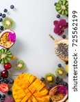 various fresh fruits and... | Shutterstock . vector #725562199