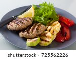 delicious grilled chicken... | Shutterstock . vector #725562226