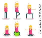 pregnant woman fitness. flat... | Shutterstock .eps vector #725566648