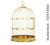 golden bird cage isolated on... | Shutterstock . vector #725573503