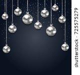 christmas silver glassy balls... | Shutterstock .eps vector #725575279
