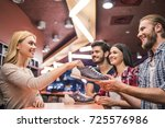 cheerful young people are...   Shutterstock . vector #725576986