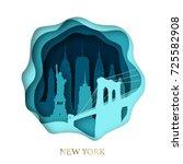 paper art of skyline new york... | Shutterstock .eps vector #725582908