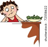 boy did not want to eat broccoli | Shutterstock .eps vector #72558622