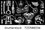 motorcycle vector set with... | Shutterstock .eps vector #725588536