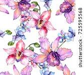 wildflower orchid flower... | Shutterstock . vector #725595568