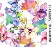 wildflower orchid flower... | Shutterstock . vector #725595646