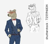 bear dressed up in classy style ... | Shutterstock .eps vector #725596834