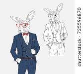 rabbit dressed up in classy... | Shutterstock .eps vector #725596870