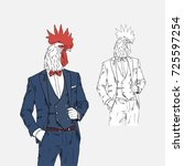 rooster dressed up in classy... | Shutterstock .eps vector #725597254
