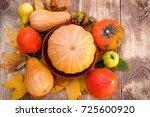 harvest on table   thanksgiving ... | Shutterstock . vector #725600920