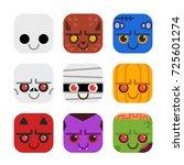 vector set of cute monster... | Shutterstock .eps vector #725601274