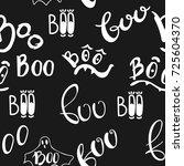 halloween seamless pattern with ... | Shutterstock .eps vector #725604370