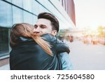young beautiful couple in love... | Shutterstock . vector #725604580