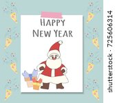 santa claus with gifts and...   Shutterstock .eps vector #725606314