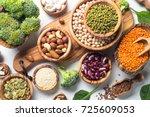 vegan protein source. beans ... | Shutterstock . vector #725609053