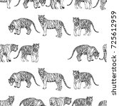 seamless pattern of hand drawn... | Shutterstock .eps vector #725612959