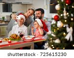 happy family taking selfie at... | Shutterstock . vector #725615230