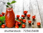 bottle of tomato juice and... | Shutterstock . vector #725615608