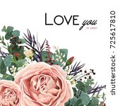 vector floral watercolor style... | Shutterstock .eps vector #725617810